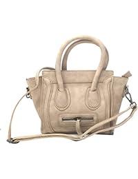 Di Grazia Women's Mini Crossbody Satchel Handbag (Beige, Beige-Mini-Trapeze-Handbag)