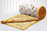 #7: Aurave Riva Floral Cotton 1 Pc Double AC Dohar,Mustard
