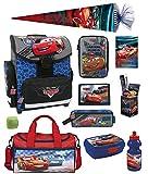 Familando Disney Cars Schulranzen-Set 16tlg. mit Regenschutz, Sporttasche, Federmappe gefüllt, Schultüte 85cm TEMCA18 blau