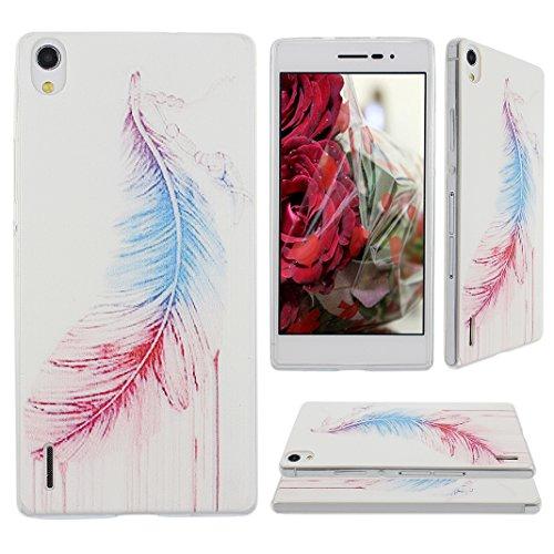Asnlove Per Huawei Ascend P7 Custodia Gel TPU Silicone Gomma Slim Cover di Mobile-Piuma Colorato