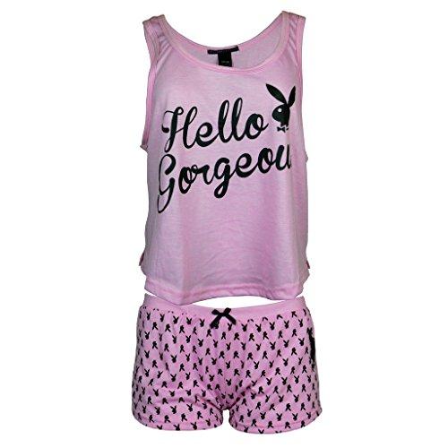 520e1fbb6e07 Playboy Sleepwear Womens Crop Top Tank Top and Shorts Set Size Medium