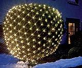 LED Lichternetz Gartenbeleuchtung 3 x 3 m 240 LED warmweiss Kabel transparent IP44 Außen ...