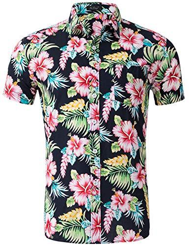 Loveternal camice hawaiane uomo stampato floreali button down shirt camicie uomo estive manica corta 3d camicia fiori uomo nero xl
