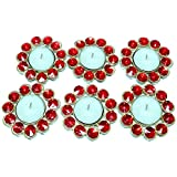 LOF T-light Candle Set Of 6 Metalic Diya Candle Holder With Candle For Diwali Home Lighting Item