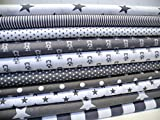 Lottashaus no181 10x Stoff Stoffpaket Grau Stoffe Patchwork Sterne Shabby chic