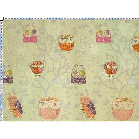 Tessuto da tappezzeria, rivestimento in tessuto, tessuto da tappezzeria, tessuto, tessuto della tenda, tessuto di puro cotone tessuto - gufi, giallo - con fantasioso gufi-stampa - Uccello Rivestimento In Tessuto
