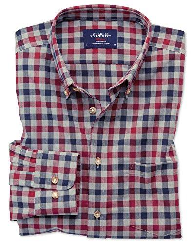 Bügelfreies Classic Fit Twill-Hemd in Rot und MarineBlau mit Gingham-Karos Einzel Manschette Größe XL (Kragen-einzel Manschette-shirt)