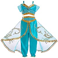 Atorcher Princess Jasmine Costume for Girls Sequined Jasmine Aladdin Arabian Princess Costume Set Dress Up for Kids