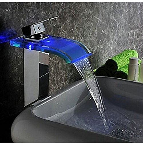 SQDSFLUC-LED luce rubinetto di vetro curvo rubinetto a cascata sul bacino rubinetto miscelatore