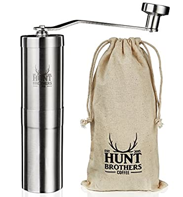 Hunt Brothers Coffee Grinder | Award Winning Coffee Mill | Best Conical Burr for Precision Brewing | Consistent Grind | Aeropress Compatible, Perfect for Traveling from Hunt Brothers U.K.