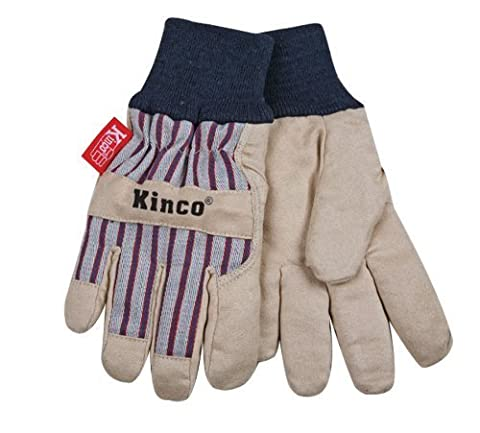 KINCO 1927KW-Y Child's Lined Ultra Suede Cold Weather Glove with Knit Wrist, Ages 7-12, Youth, Golden by Kinco