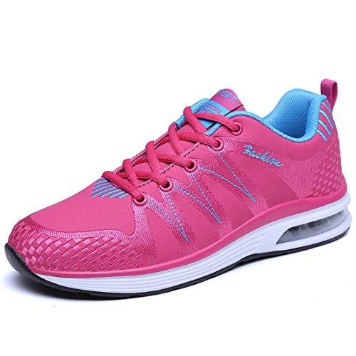 Men's Breathable PU Leather Tennis Shoes 9920 rose red