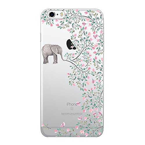 iPhone SE Hülle Wouier® TPU Silikon Abdeckung Schutzhülle Transparent Case Klar Schutzhülle Cover Blume Tier Case für iPhone 5 5s SE (iPhone 5 5s SE, Color 04) (Iphone 5 Tier-fällen)