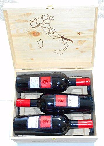 (6 Flaschen Negroamaro Appassimento IGT Sonderedition Conte di Campiano in Original-Holzkiste, sensationeller Rotwein aus Apulien)