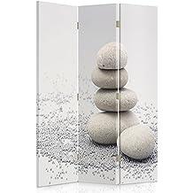 Feeby Frames Biombo impreso sobre lona, tabique decorativo para habitaciones, a una cara, de 3 piezas (110x150 cm), COMPOSICIÓN, ZEN, CANTOS RODADOS, ARENA, LAS PIRÁMIDES, BLANCO