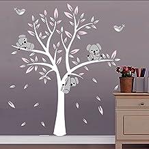 BDECOLL Adhesivo Decorativo para Pared Vinilos Arbol Decoraciones Del Arte con Hojas Blanco y Rosa 2.5*2m Acrílico Pegatinas de Pared para Salón