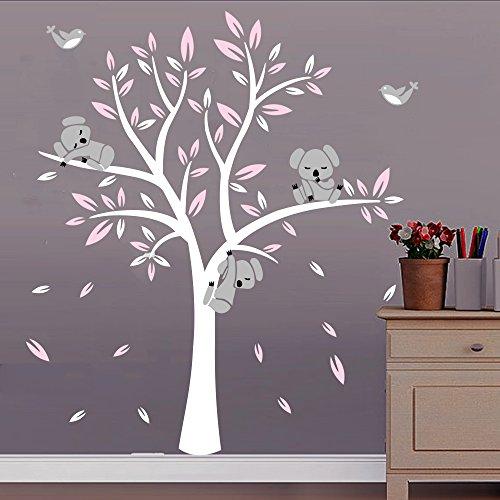 BDECOLL Cartoon arbre Koala DIY Stickers muraux,arbres Stickers muraux apier peint amovible Stickers muraux Home Decor Living Chambre filles Chambre, chambre de bébé, Creative Art Deco(Rose)