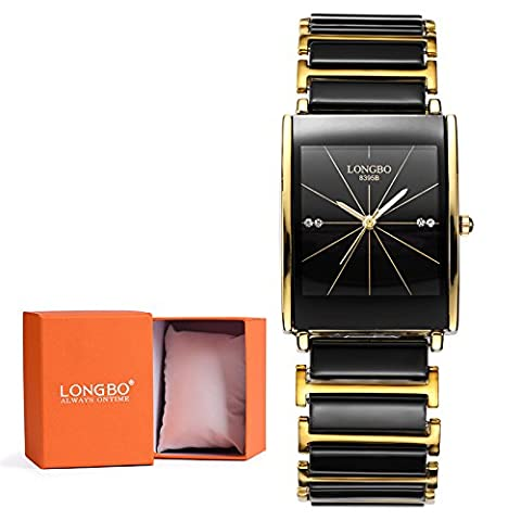 LONGBO Luxury Men Gold Black Ceramic Bracelet Watches Casual Couple Dress Gentlemen Watch Rinestone Waterproof Square Business Wristwatch