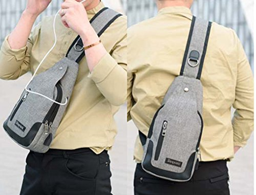 Lemongirl Sling zaino Zaino a tracolla con porta di ricarica USB petto borsa a tracolla per uomini e donne, Uomo, Purply, Taglia unica Grey