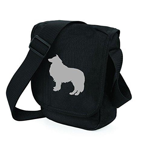 Bag Pixie ,  Unisex Erwachsene Umhängetaschen Grey Dog on Black