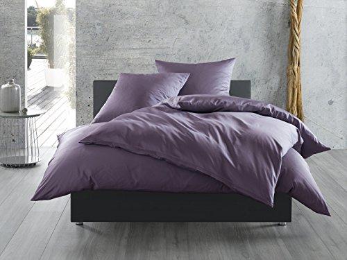 Mako-Satin Baumwollsatin Bettwäsche uni einfarbig zum Kombinieren (Kissenbezug 80 cm x 80 cm, Lila)