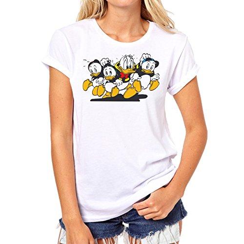 Donald Duck Logo Donald Duck Comic Background Damen T-Shirt Weiß