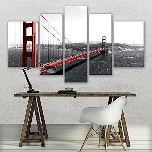 FORWALL Leinwandbild Kunstdruck Wandbild Golden Gate S4A (170cm. x 100cm. (1x30x100, 2x30x80, 2x40x60)) AMFPS10085S4A Canvas Picture Print Stadt Städtisch Golden Gate Bridge Goldenes Tor (Golden Berühmt Bridge, Gate)