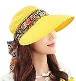 Kuyou Sommer Strand Hat Damen Outdoor Sport Hut Anti-UV Sonnenhut (Gelb)