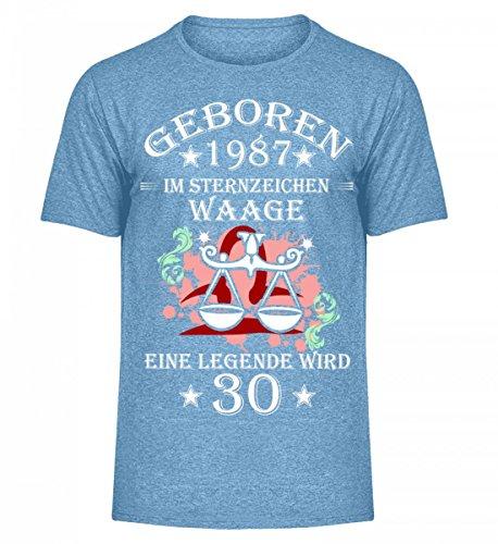 Shirtee Hochwertiges Herren Melange Shirt - Sternzeichen Waage Wird 30 Hellblau Meliert