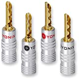 24 x Yonix High End Bananenstecker | Tube | vergoldet | BSY-245