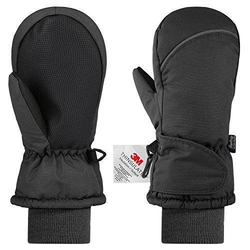 Fazitrip Kinderhandschuhe Fäustlinge Kinder Winddicht Handschuhe Jungen Mädchen (2-3 Y, Schwarz)