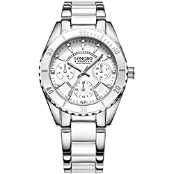 LONGBO 2017 New Design Pretty Women Lady Watch With Ceramic Alloy Strap And Luminous Hand Silver Case