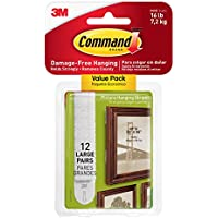 Command Picture & Frame Hanging Strips Value Pack, Large, White, 12-Pairs (17206-12ES)