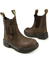 (Brown, 9) - Black Brown Riding Steel Toe Jodhpur Boots All Sizes UK