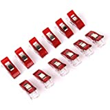 Imported Sewing Craft Quilt Binding Plastic Clips Clamps 50pcs Clear and Red