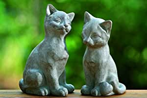 CAT FIGURES 2PCS CAT SCULPTURES STATUES IN STONE-LOOK 21CM HEIGHT INDOOR&OUTDOOR SYNTHETIC RESIN NEW - Tinas Collection - the different design