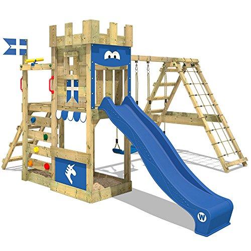 WICKEY Aire de jeux bois DragonFlyer avec balançoire et toboggan bleu, Maison enfant exterieur avec bac à sable, mur d'escalade & beaucoup d'accessoires de jeux