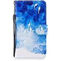 """BONROY Galaxy J3 2017 Wallet Case, Galaxy J3 2017 Leather Case, Folio Flip Case Cover for Samsung Galaxy J3 2017 with Strap, Premium Soft PU Leather Notebook Wallet Cute Animal Cat Pattern Design Case with [Kickstand] Stand Function Card Holder and ID Slot Slim Flip Protective Skin Cover for Samsung Galaxy J3 2017 / J330 5.0"""" - Ocean"""