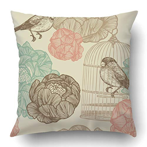 Covers White Vintage Bird Cages Pattern Design Flower Birdcage Sketch Shape Retro House Hanging Polyester Square Hidden Zipper Decorative Pillowcase 16x16 inch ()