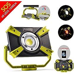 Projecteur Led Lampe de Travail 48 LEDs 1600LM 20W Portable Rechargeable, Lumière Extérieur Sécurité IP64 Imperméable, avec Aimant Support, Port d'USB Chargement Rapide 5V 2.1A, Le Mode de SOS