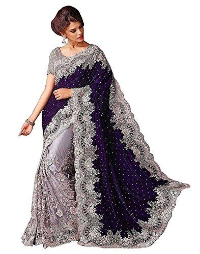 Fashion Dream Women\'s Velvet|Net Saree With Blouse Piece ($Blue_Gpo_Saree_Blue)