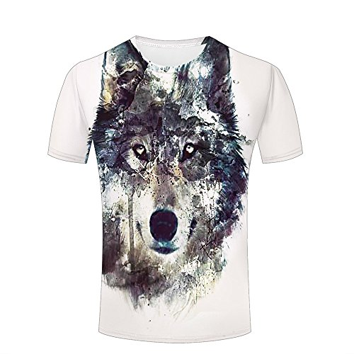 LizzieYun Unisex 3D Graphic T-Shirt Printed Abstract Design Wolf Drawing Fashion Couple Tees