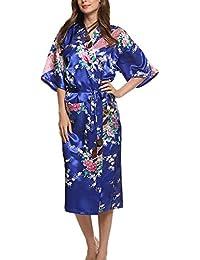2461fb0880e6f5 Dolamen Damen Morgenmantel Kimono, glatte Satin Nachtwäsche Bademantel Robe  mit Peacock und Blume Kimono Negligee