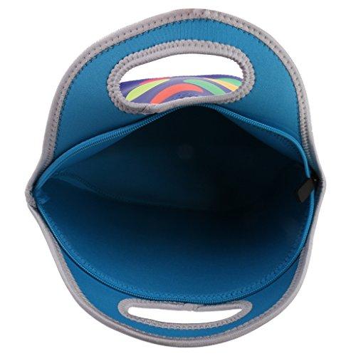 Kindergartentasche Kinder Tasche Handtasche Mittagessen Taschen Lunchbox 1200ml Weichen Reißverschluss Neopren Mittagessen Tragetasche Bentobox Sonne - Streifen Große blaue Punkt