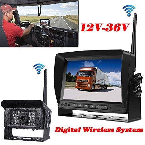 12V-35V telecamera wireless digitale 17,8cm TFT LCD monitor + wireless 28LEDS IR vista posteriore impermeabile visione notturna telecamera di retromarcia per camper Bus camion rimorchio