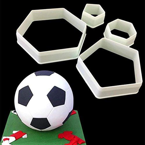 Jamicy 1 Set Fußball-Formen bestehend aus 4 Stück Ausstechformen aus Kunststoff für die Herstellung oder Dekoration von Kuchen