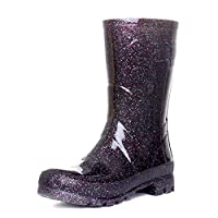 Zone - Womens Black Multi Glitter Wellington Boot