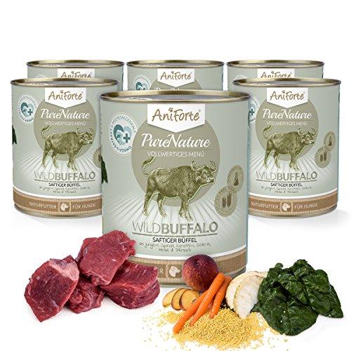 AniForte® PureNature Nassfutter 400g Wild Buffalo Hundefutter- Naturprodukt für Hunde (Saftiger Büffel, 6x400g)