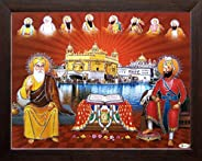 Art n Store Ten Sikh Gurus with Golden Temple and Guru Granth Sahib, Religious & Wall Decor Painting with