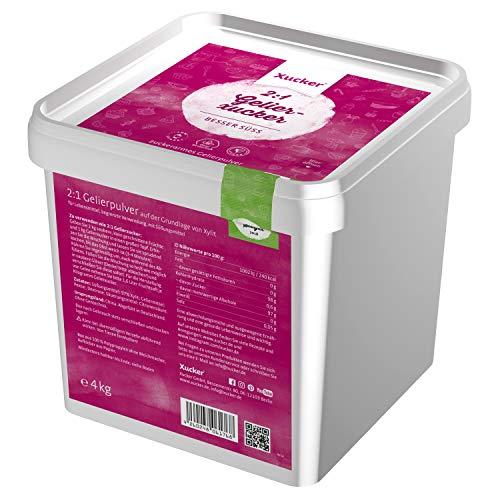 Xucker 4kg Box Kalorienreduzierte Natürliche Gelierzucker-Alternative, Xylit, 2:1 Gelier-Xucker, Konserviert wie Gelierzucker